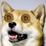 Un Shiba-Inu (l'emblème du Dogecoin) avec des Dogecoin à la place des yeux