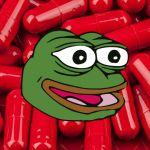 Une tête de pepe the frog sur des pilules rouges