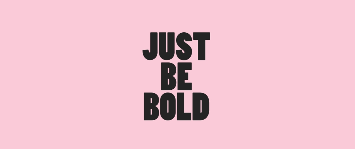 Just Be Bold, le logo du cabinet d'avocats BOLD, sur un fond rose