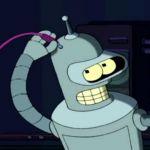 Bender le robot se branche un cable dans la tête