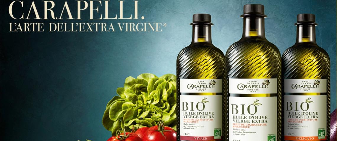 Bouteilles d'huile d'olive Carapelli