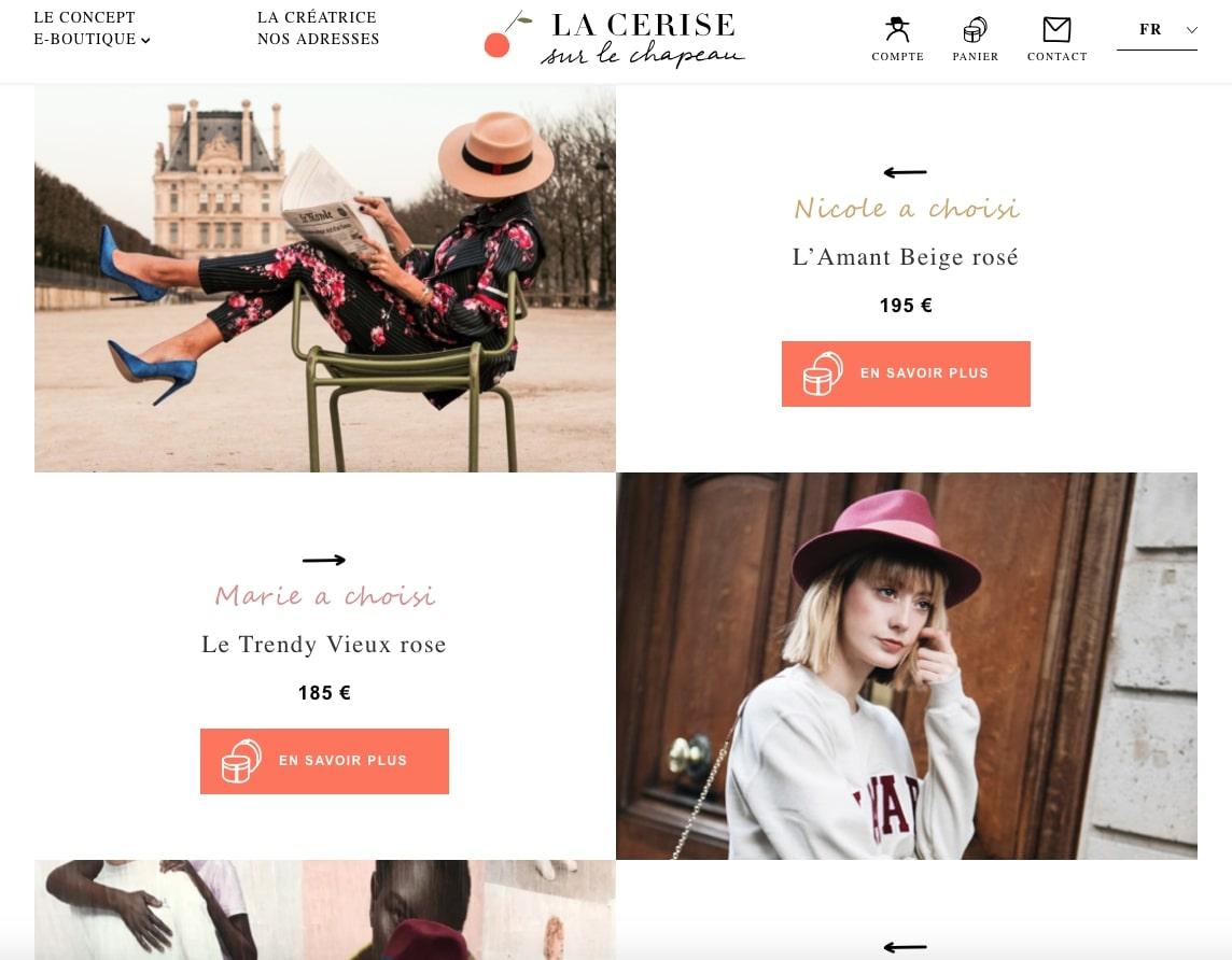 Capture d'écran du site La Cerise sur le Chapeau