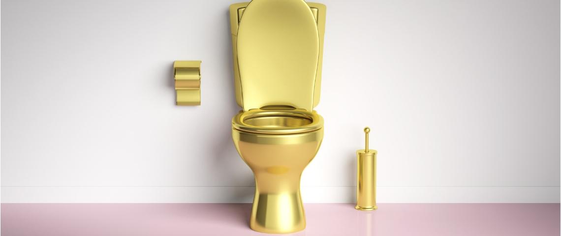Des toilettes en or sur fond blanc et rose