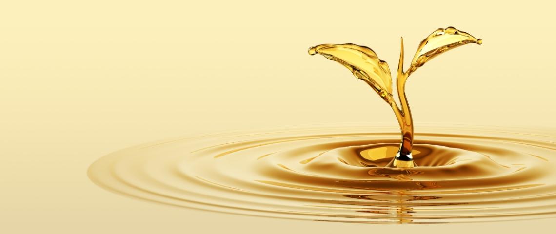 huile en forme de pousse