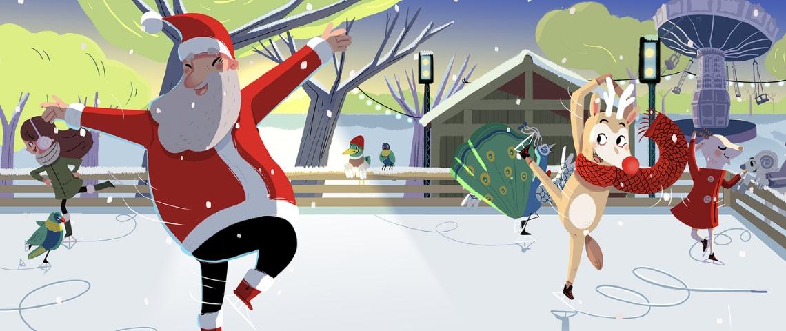 Illustration d'un père Noel et d'un renne