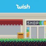 Une scène en pixels, avec des personnages devant un magasin