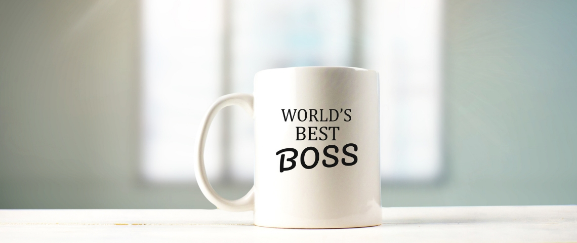 Une tasse avec l'inscription world's best boss