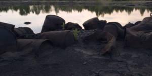 pollution d'un lac avec des bidons vides