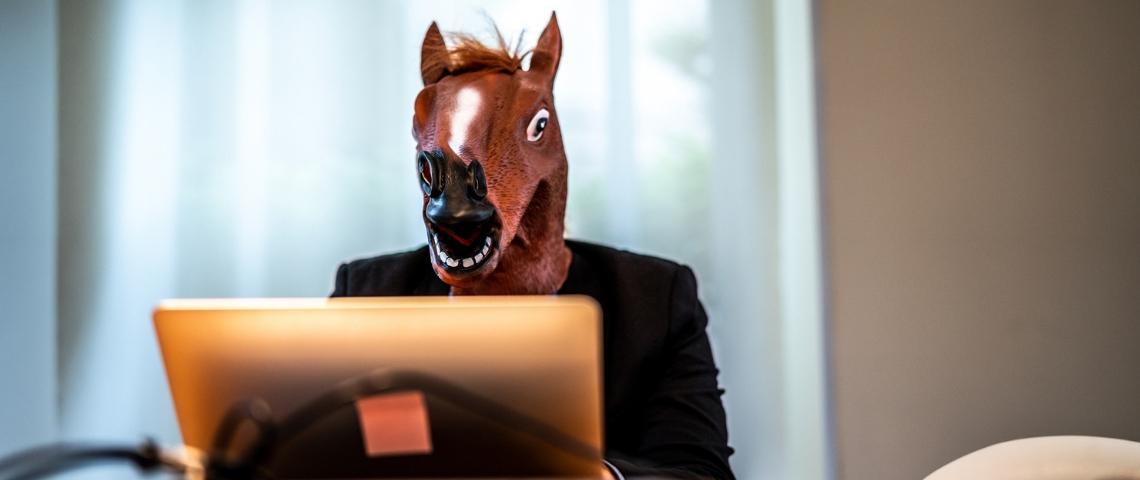 Un homme au masque de cheval devant son ordinateur