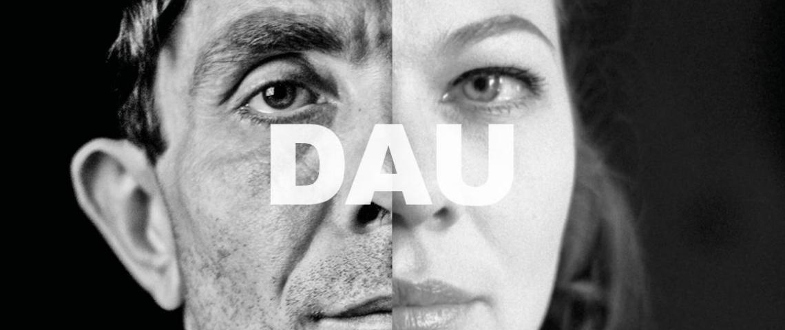 affiche en noir et blanc de l'exposition DAU
