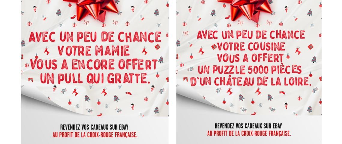 Visuels de la campagne de l'opération Ebay et Croix Rouge