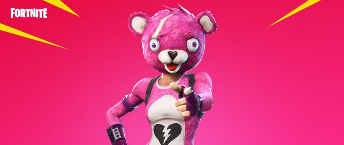 un personnage de jeu vidéo de fortnite avec une tête d'ours rose