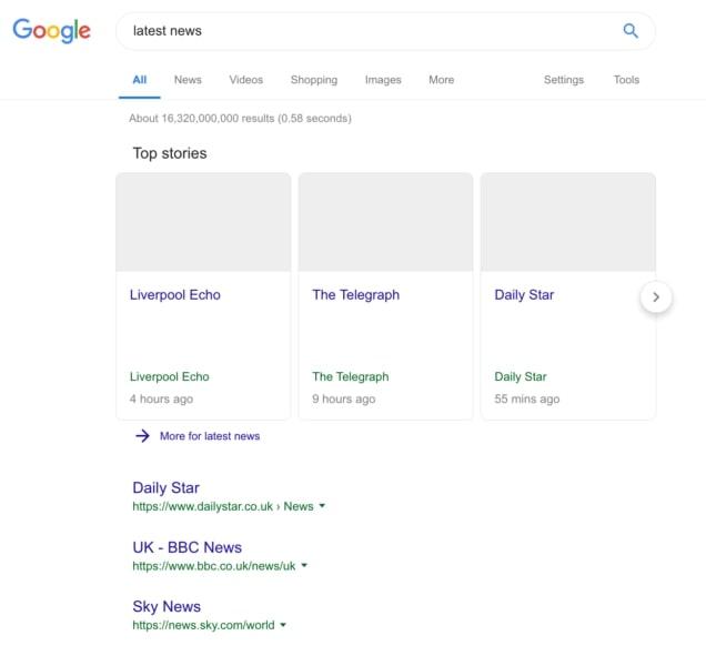 capture d'écran de google news vide
