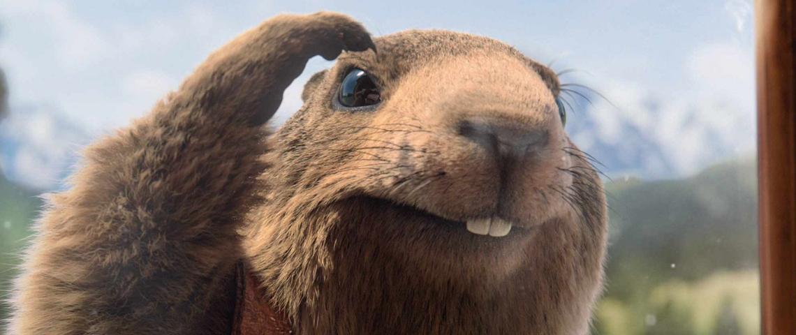 La marmotte de la publicité Milka qui regarde par la fenêtre