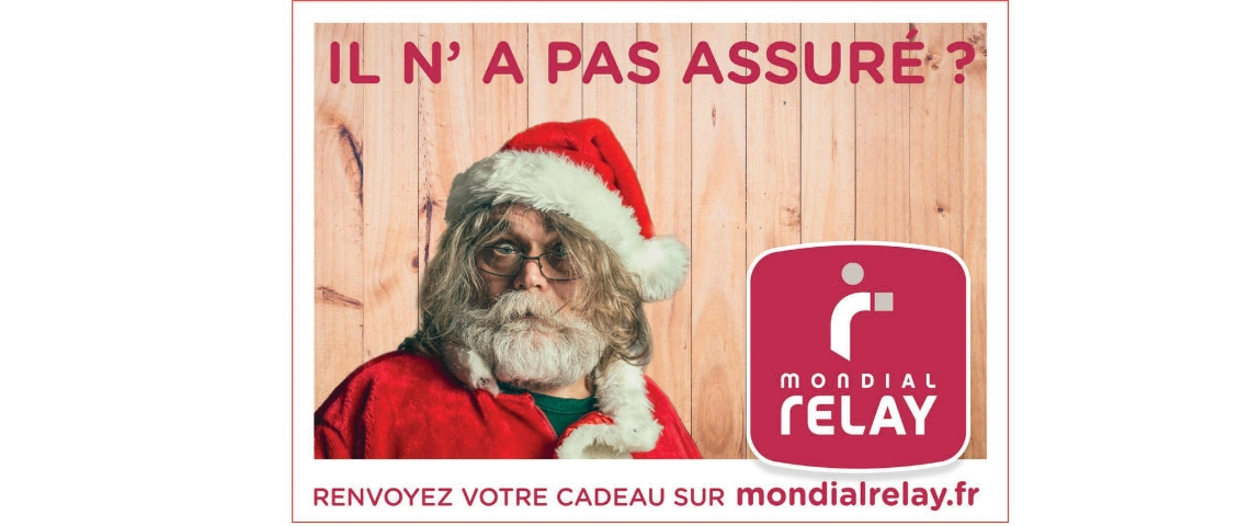 Affiche Mondial Relay avec un père Noël