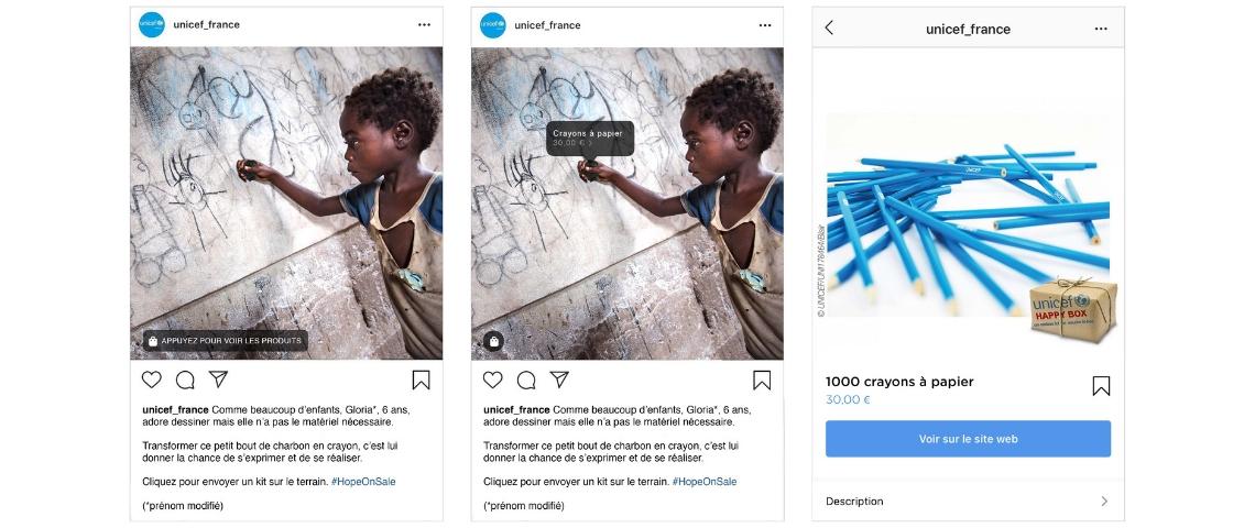 images instagram de l'opération UNICEF