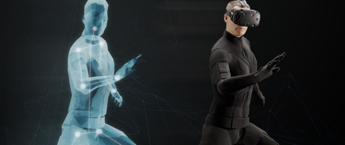 un homme dans une combinaison de réalité virtuelle