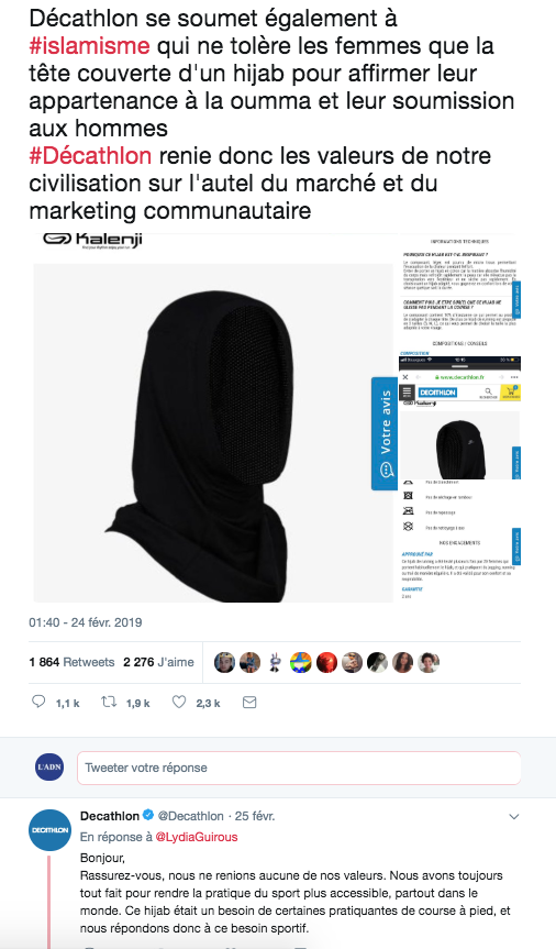capture d'écran tweet affaire hijab