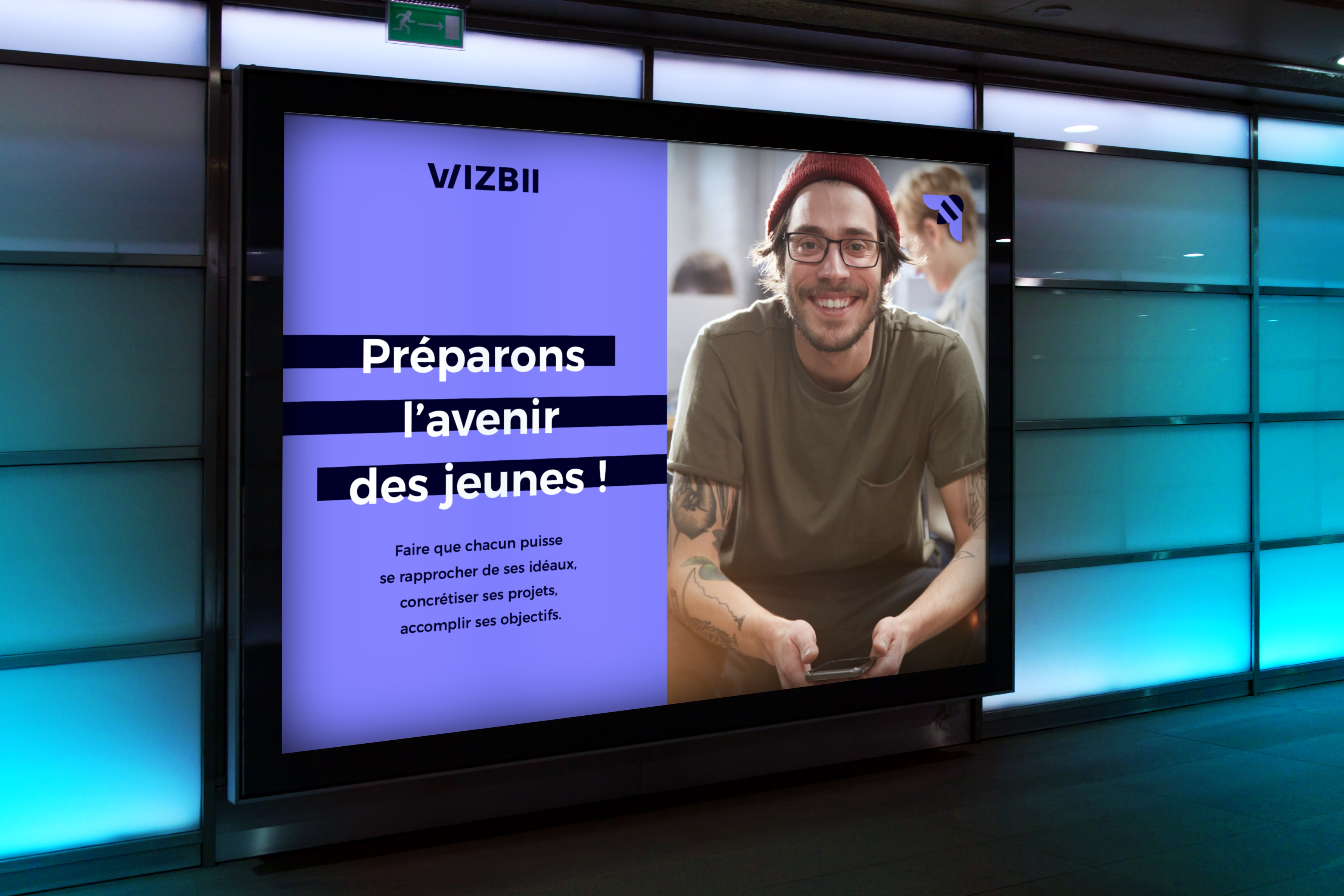 Affiche digitale de la start-up Wizbii