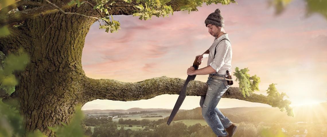 un homme assis sur une branche qu'il est en train de scier