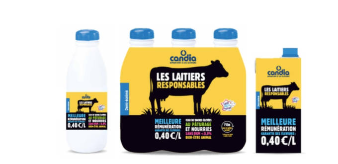 Les nouveaux packagings des bouteilles de lait Candia