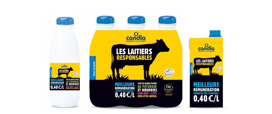 Packaging des bouteilles de lait Candia