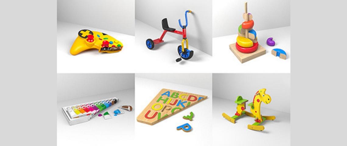 Des jouets coupés en deux