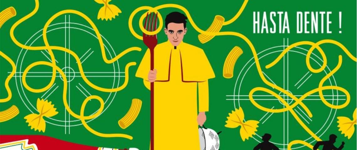 un homme en imperméable devant un tas de spaghettis