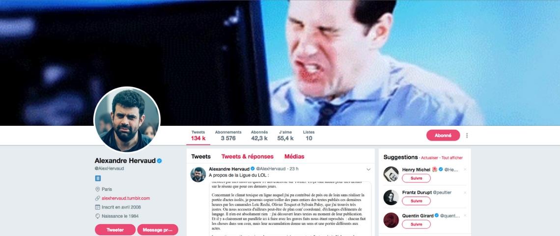 une capture d'ecran du twitter d'Alexandre Hervaut