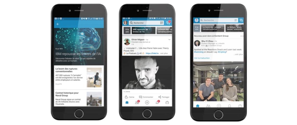 Des smartphones sur LinkedIn