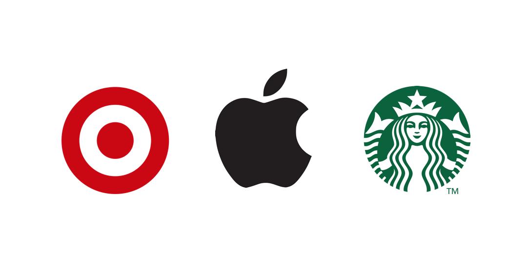 logos Apple Target et Starbucks