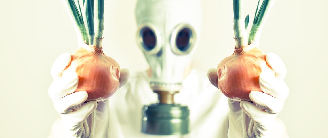 Une personne portant un masque à gaz tenant des oignons