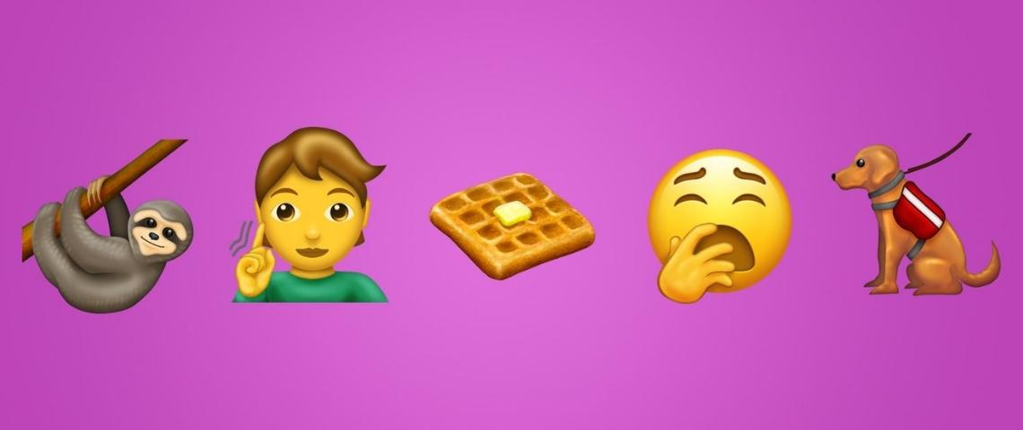 Emoji gaufre, paresseux, chien d'aveugle