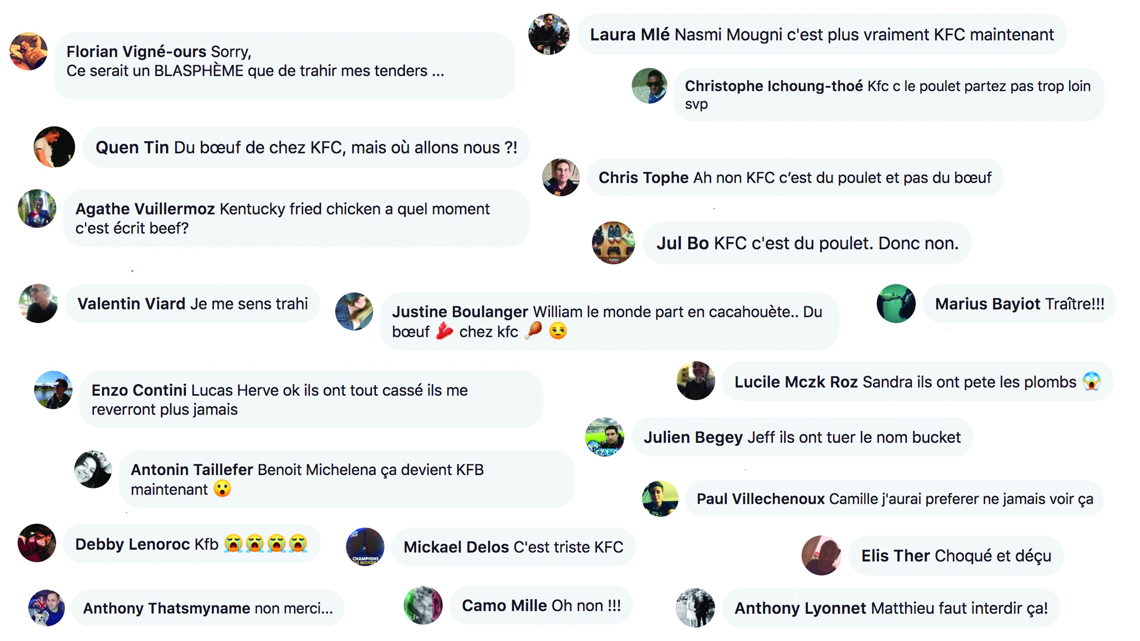 capture d'écrans de commentaires Facebook
