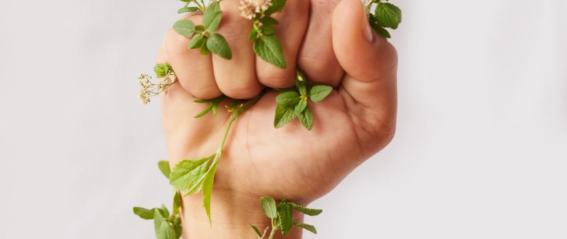 Le poing d'une femme, serré, entouré de feuilles