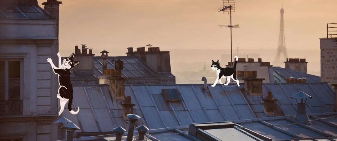 Illustration de Paris avec des chat noirs