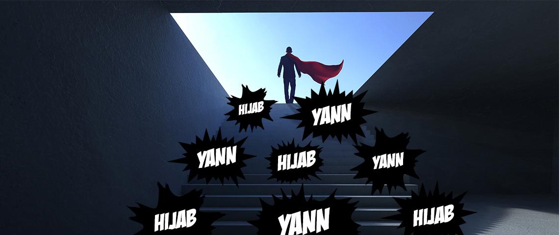 Un super-héros suivi d'onomatopés