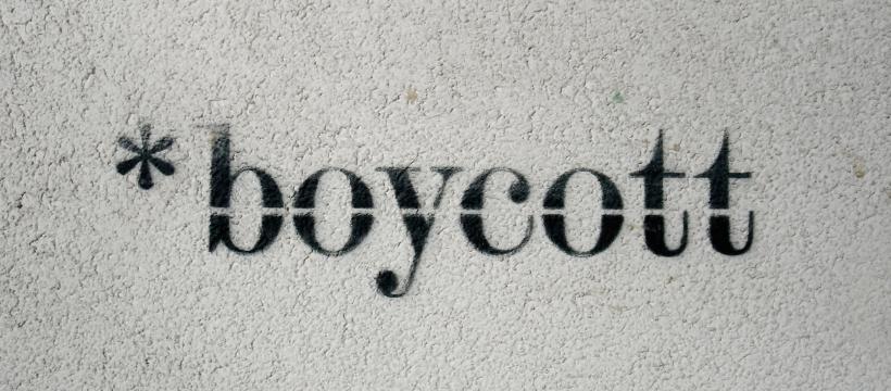 boycott ecrit sur fond gris
