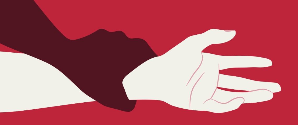 un bras d'homme emprisonne un bras de femme