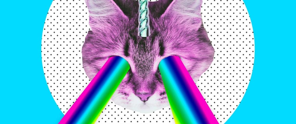 collage d'un chat licorne avec des yeux arc en ciel