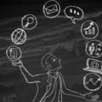 Un dessin d'un jongleur à la craie sur un tableau noir