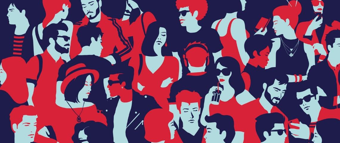 dessin d'une foule de gens en rouge et bleu