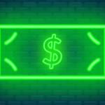 Un néon qui représente un billet avec le signe dollar