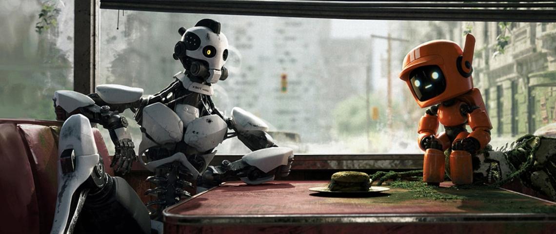 Love Death & Robot sur Netflix, deux robots discutent dans un monde post-apocalyptique