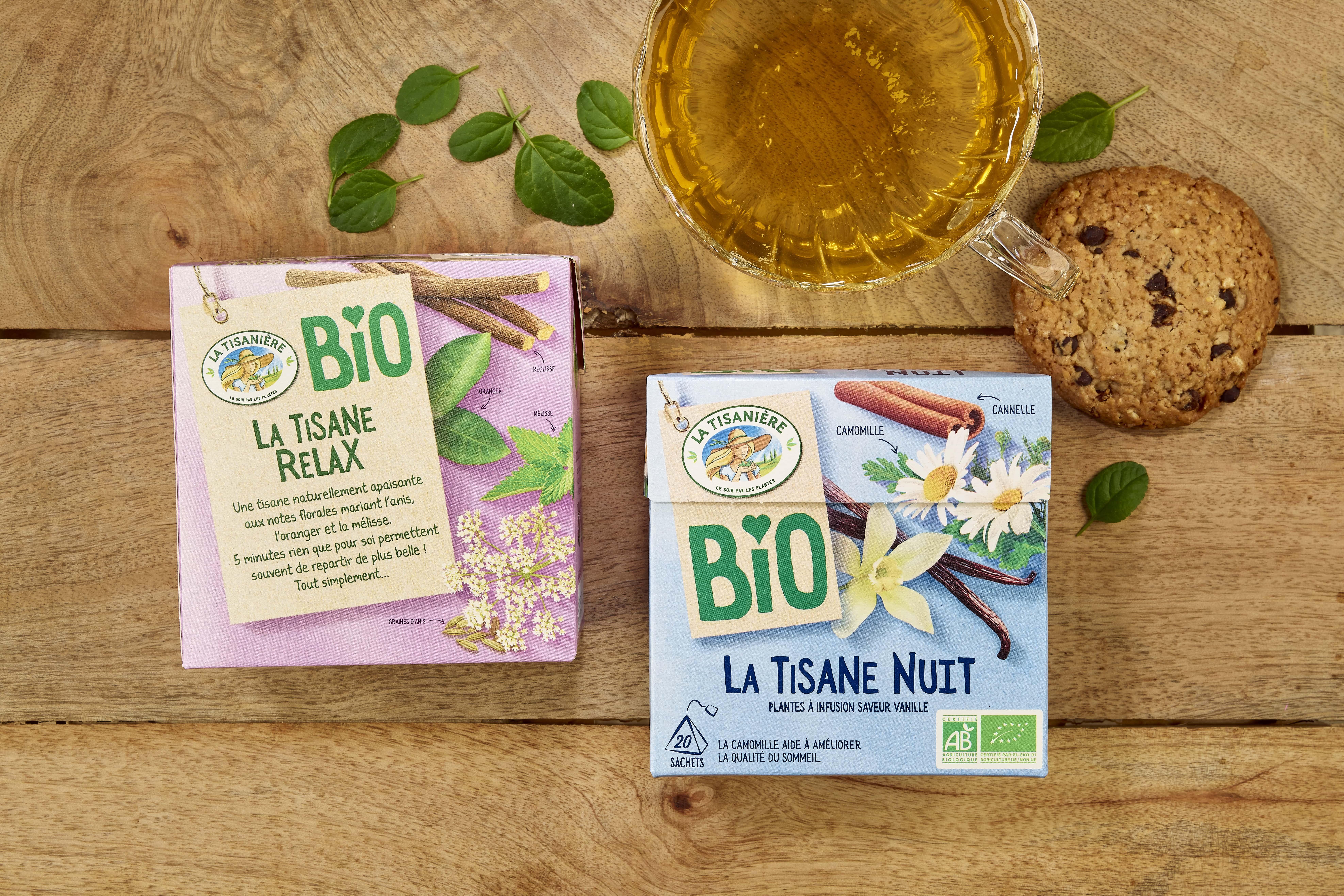 Des boites de thé bio La Tisanière
