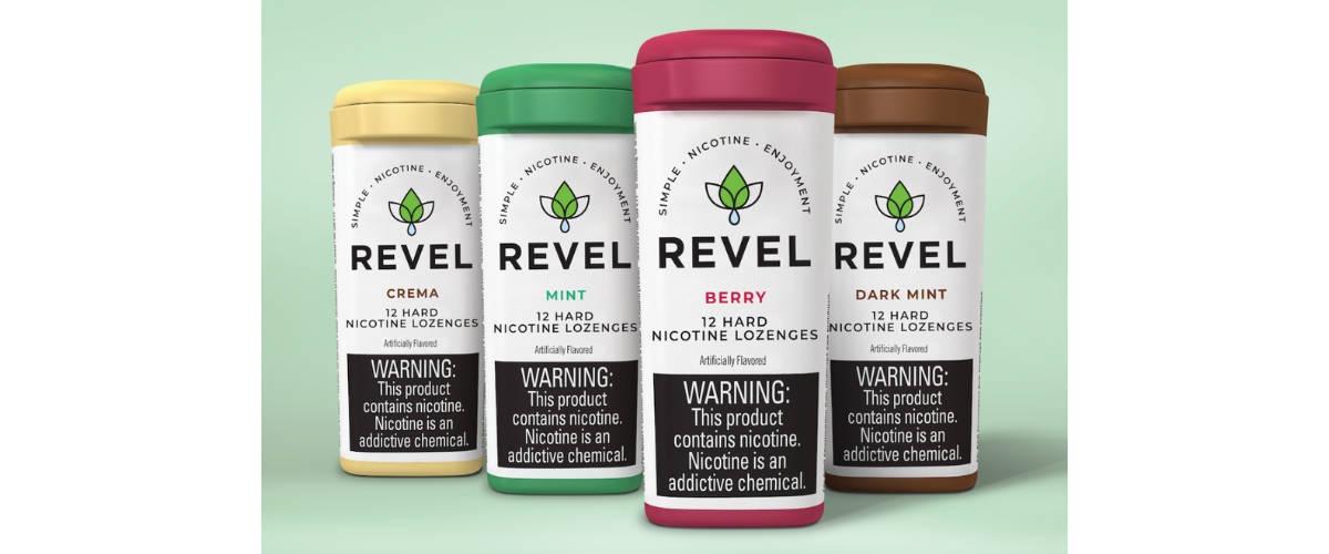 Boîte de pastilles à la nicotine de la marque Revel