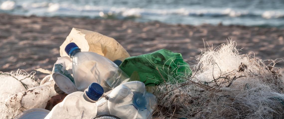 des bouteille plastiques sur une plage