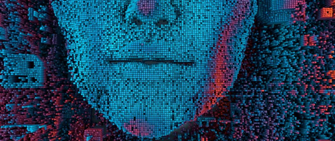 Visage de femmes pixelisé