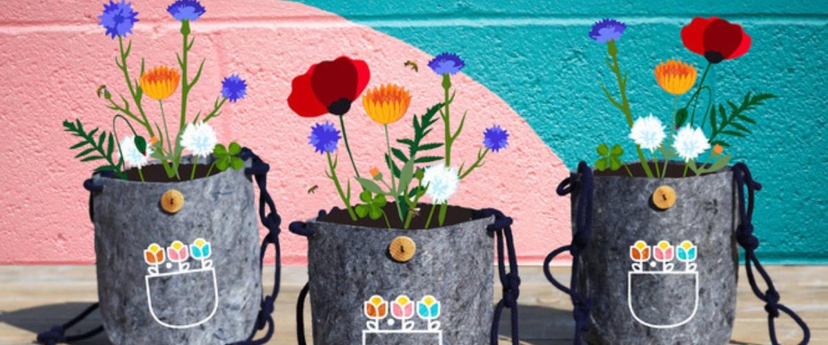 Pot de fleurs en tissus