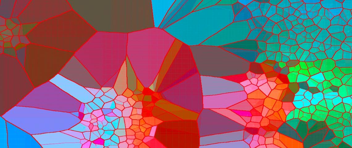 une fresque numérique de formes abstraites